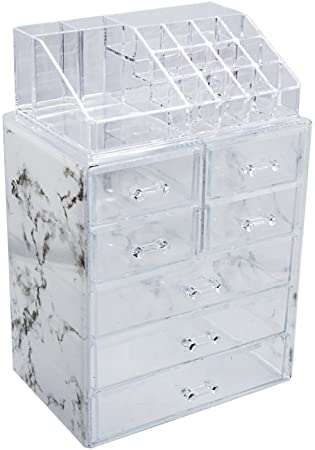 2fa1b47d5b7c Sorbus Luxe Marble Cosmetic Makeup and Jewelry Storage Case Display -  Spacious Design - Great for Bathroom, Dresser, Vanity and Countertop (3  Large, 4 ...