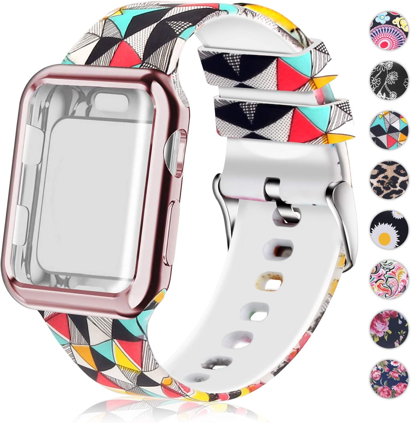 Compatible for Apple Watch Band 38mm with Screen Protector Case, Soft Silicone Sport Wristband for Apple Watch iwatch Series 3 2 1 (38mm,Stereoscopic image)