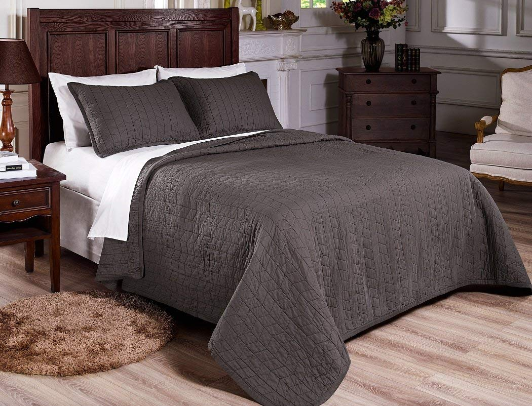 Chezmoi Collection Vintage Washed Solid Cotton Quilt and Shams Set (Gray, Queen