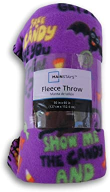 Spooky Town Trick or Treat Purple Patterned Fleece Throw Blanket - 50in X 60in