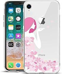 Girlscases® | iPhone XR Hülle | Im Blumen-Mädchen Motiv Muster | in rosa pink | Fashion Case Transparente Schutzhülle aus Silikon