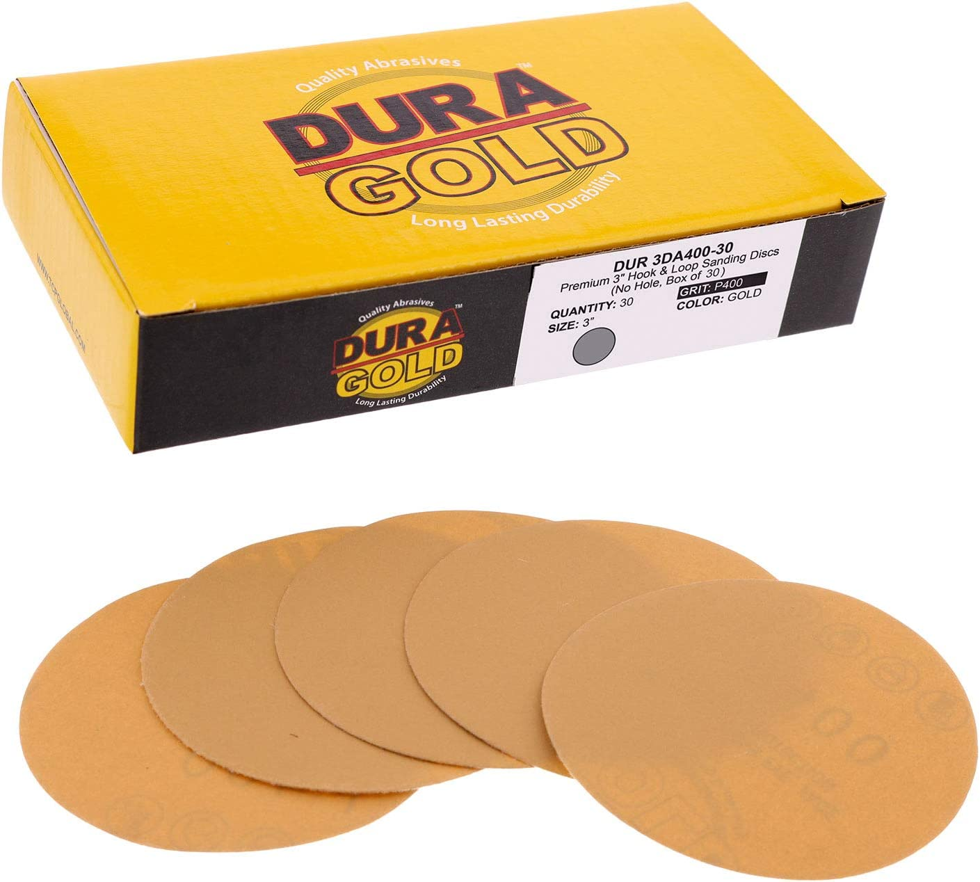 Premium- 3 Disc Variety//Assortment Pack 40,60,80,120,220,320,400,600,800,1000 Box 50 Sandpaper Discs for Automotive Woodworking with Bonus Backing Plate Dura-Gold - 3 Gold Hook /& Loop Discs