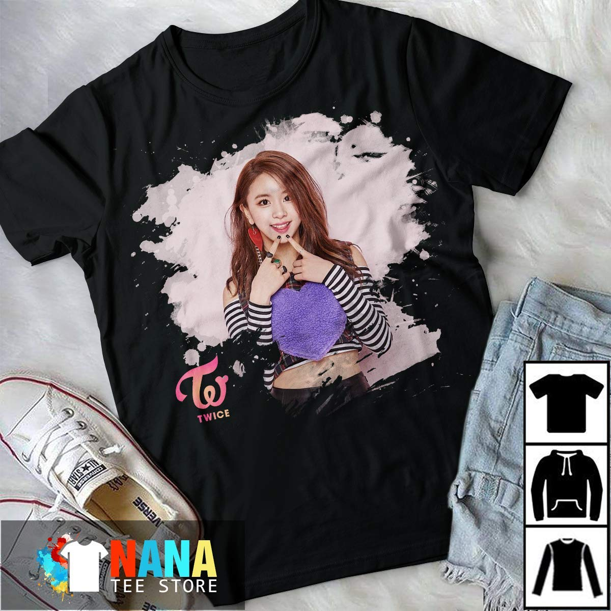 Amazon com: Kpop Twice Chaeyoung T-Shirt Long T-Shirt