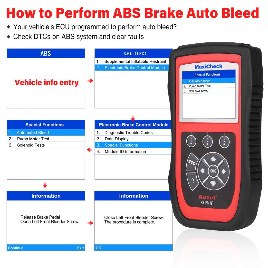 Autel MaxiCheck Pro OBD2 Scanner Automotive Diagnostic Scan Tool with ABS Auto Bleed, SRS Airbag, Oil Reset, SAS, EPB, BMS for Specific Vehicles 1996 to 2012 by Autel (Image #2)