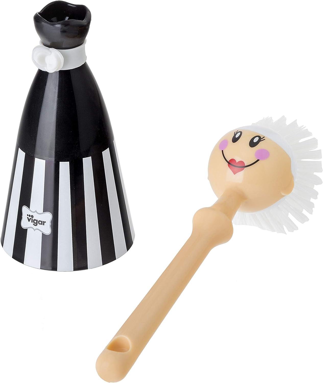 VIGAR Dolls Stripes Brosse /à Vaisselle Noir 7,5 x 7,5 x 24,5 cm