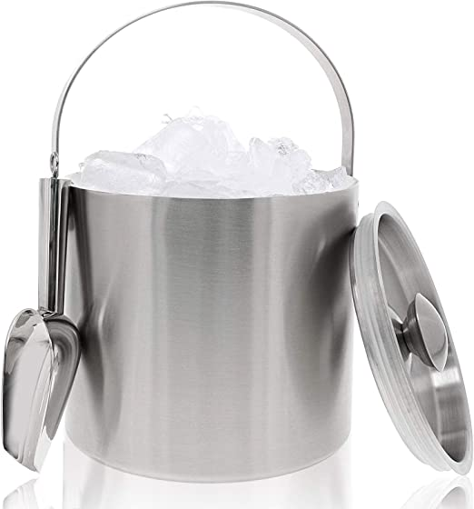 Amazon Com Insulated Stainless Steel Ice Bucket With Scoop Lid And Handle 6 6 X 7 5 In Office Products
