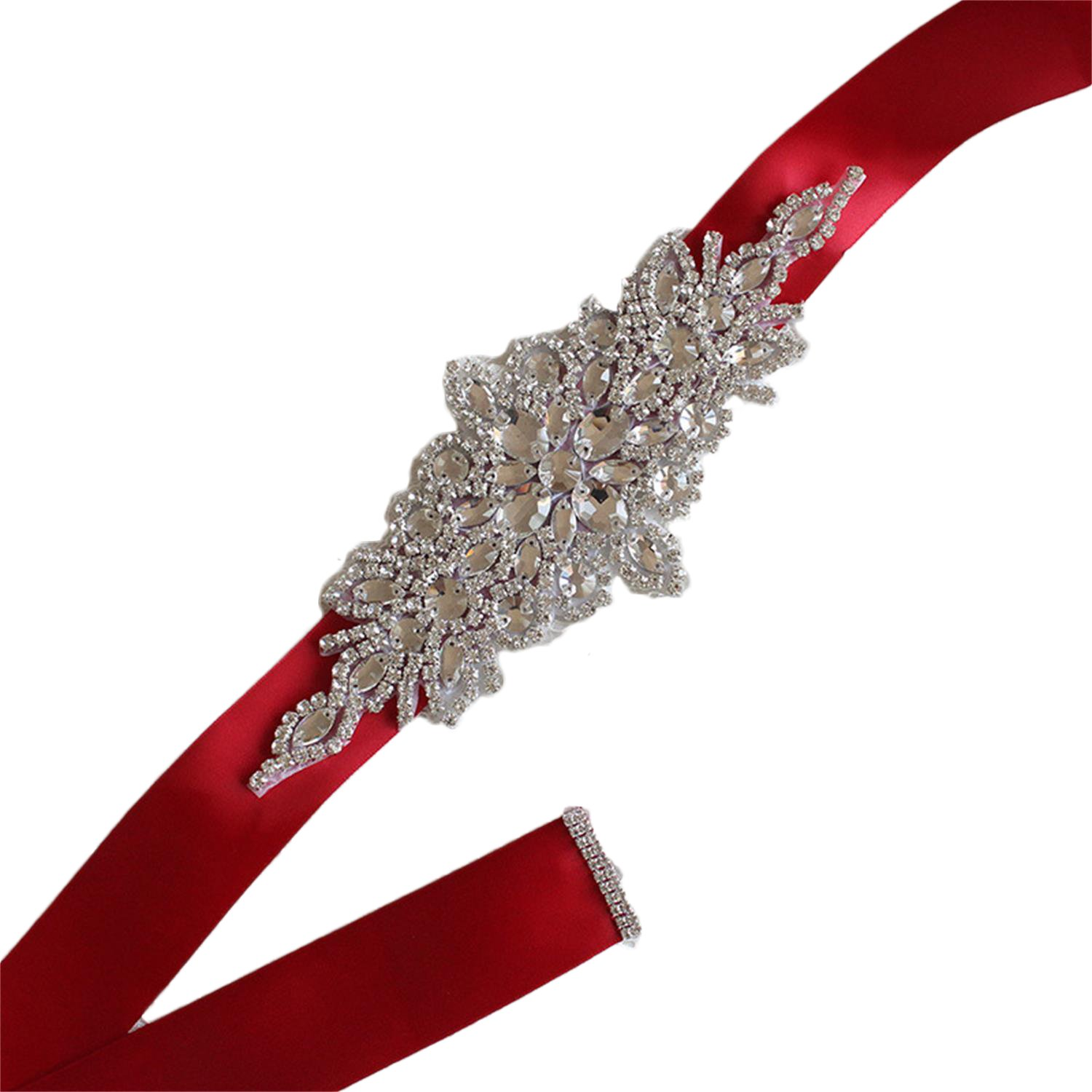 Vicokity Bridal Crystal Rhinestone Sash Belt With Ribbon For Wedding Party Prom Evening Dresses (175cm long, Wine Red)