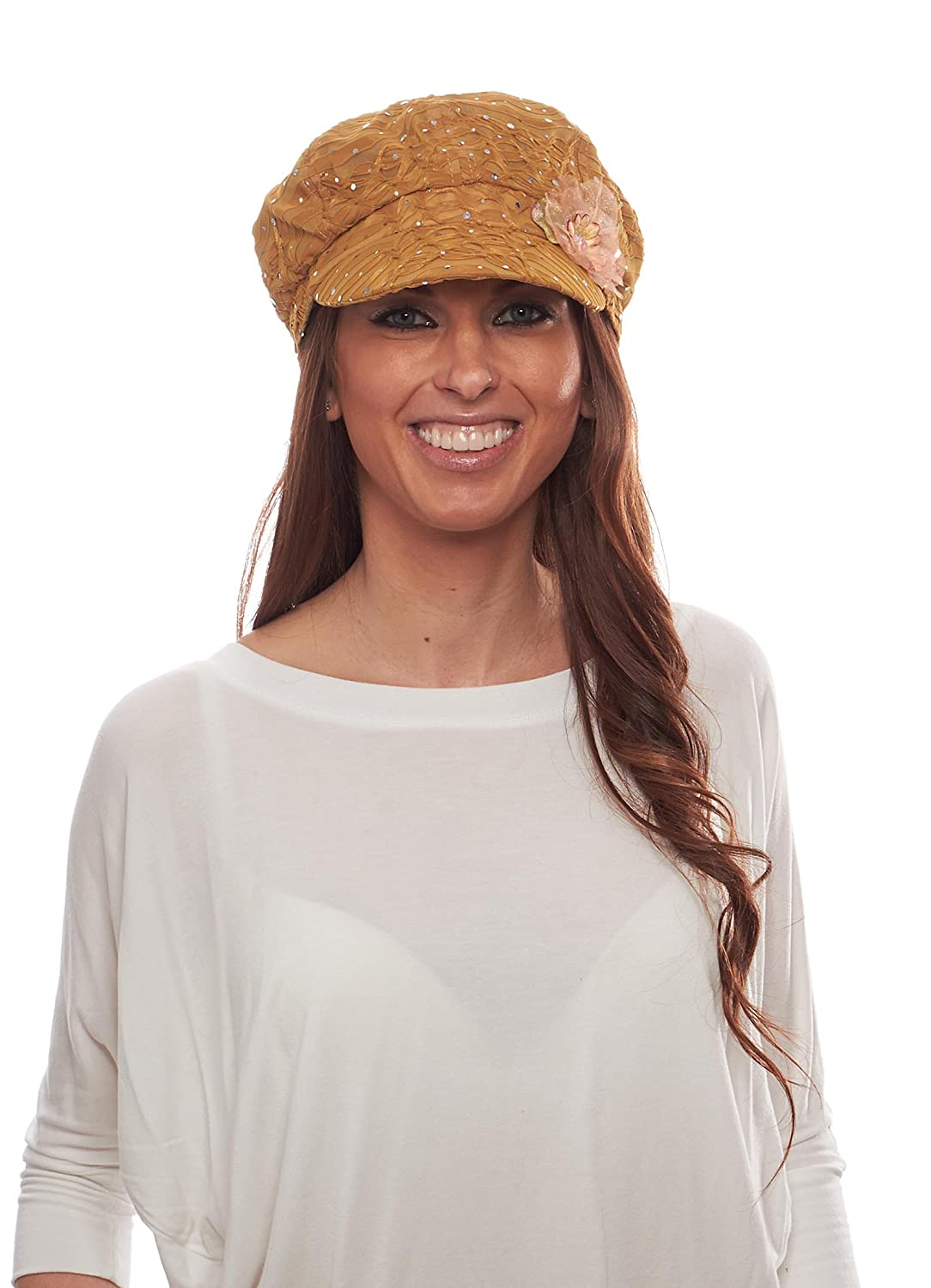 Glitter Sequin Newsboy Cap with Sparkle Flower, Gold with Flowers Greatlookz Fashion 5HRT71485A-C65M