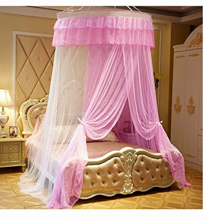 KingKara Luxury Princess Bed Net Canopy Round Hoop Netting Bedroom Decor  Large Size Mosquito Net Bedding