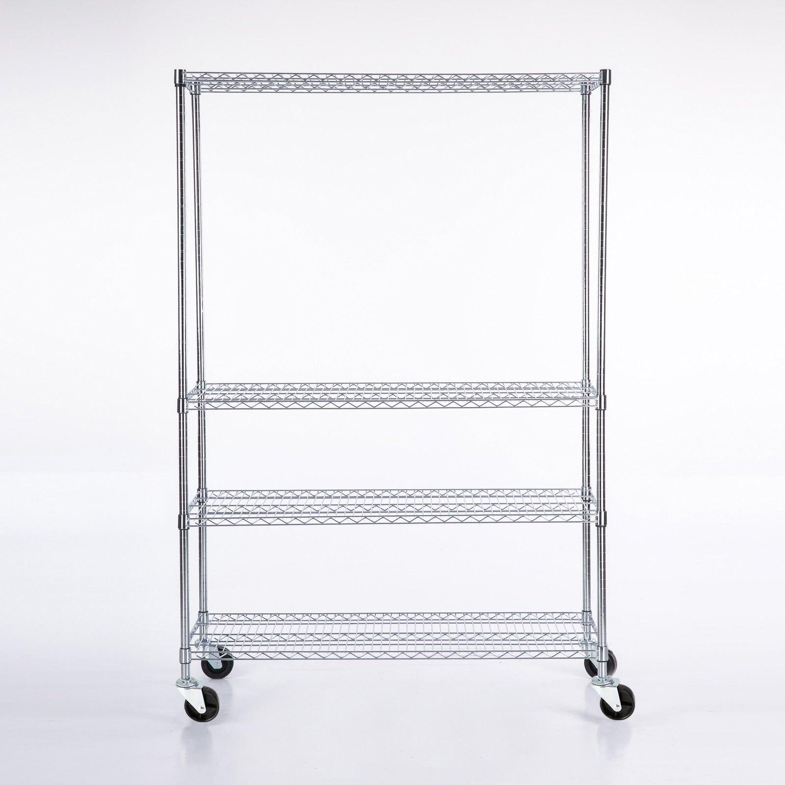 4Tier Shelving Adjustable Chrome Rack 82''x48''x18'' Heavy Duty Wire Steel Shelf