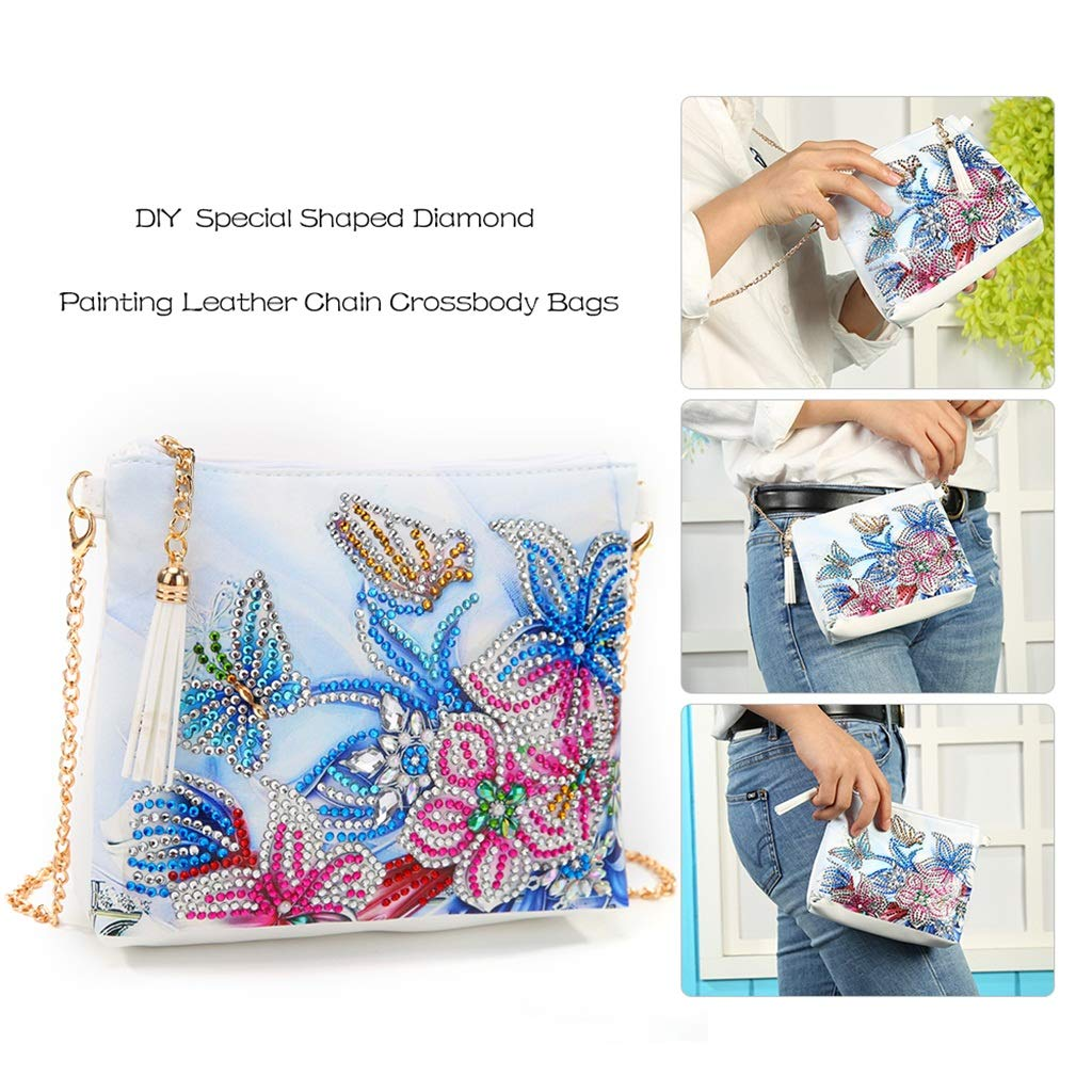 Special Shaped Drill Cross Stitch Backpack Handbag Purse Tote Storage Bag Embroidery Kit Leather for Girl Women Art Craft Decor YESSKO DIY 5D Diamond Painting Butterfly Flower Crossbody