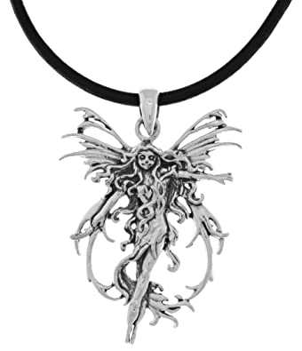 Amazon jewelry trends silver plated bronze fire element fairy jewelry trends silver plated bronze fire element fairy pendant on 18 inch black leather necklace aloadofball Image collections