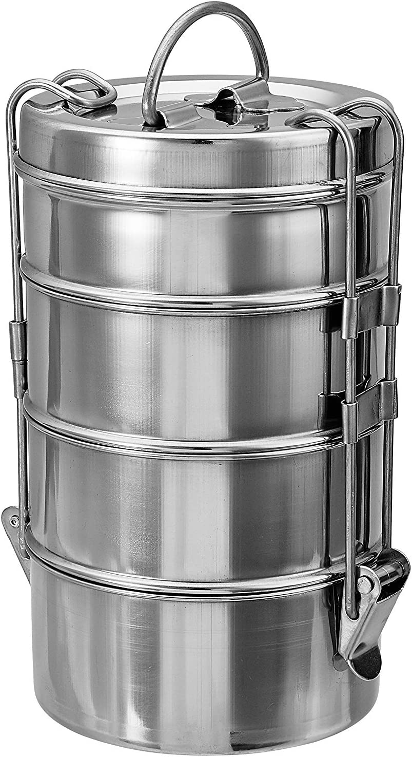 PARIJAT HANDICRAFT Stainless Steel Food Grade Bento Vintage Wire Tiffin Box, Traditional Indian Lunch Box,Tiffin Box,Food Container,Indian Tiffin, Food storage container 11 cm X 4 Tier