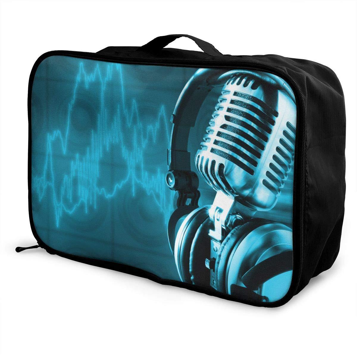 Travel Luggage Duffle Bag Lightweight Portable Handbag Microphone Pattern Large Capacity Waterproof Foldable Storage Tote