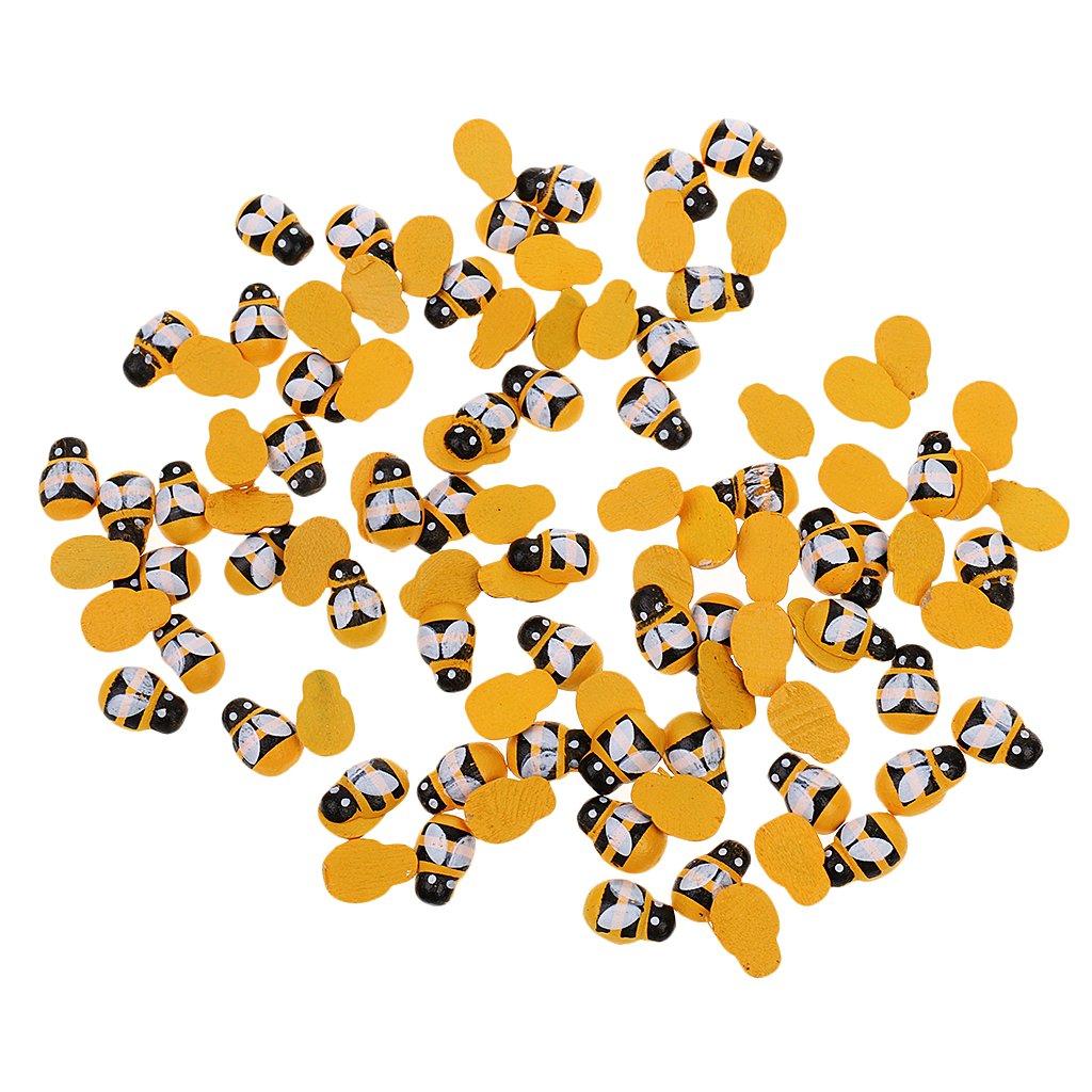 Jili Online Pack of 200 Tiny Wooden Bee Flatback Embellishment for Craft Scrapbooking DIY Decor