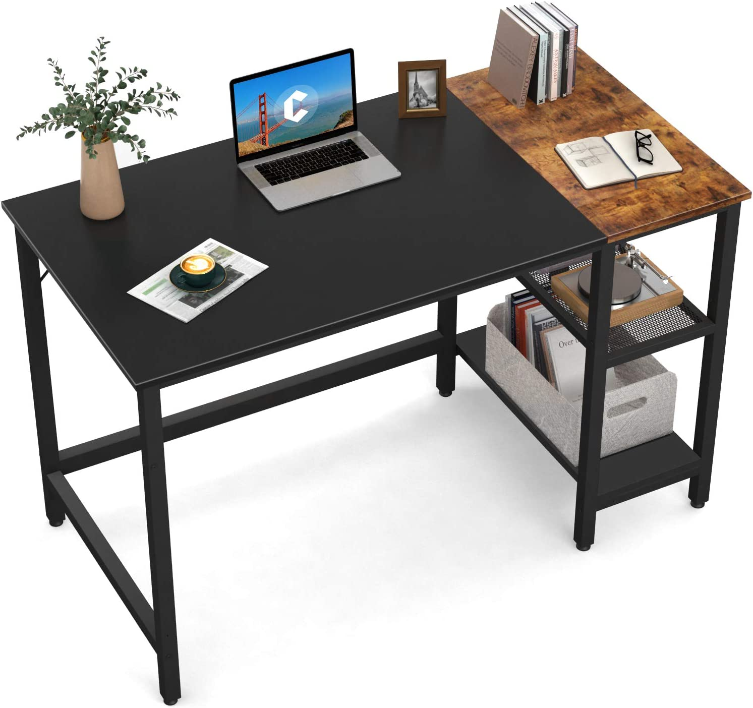 CubiCubi Computer Home Office Desk, 40 Inch Small Desk Study Writing Table with Storage Shelves, Modern Simple PC Desk with Splice Board, Black and Rustic Brown