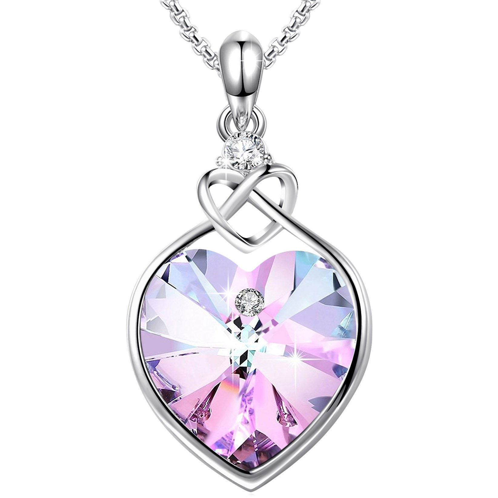 Angelady''Love Guardian Heart Pendant Necklace Crystal from Swarovski,Gift for Women Birthday Anniversary (Purple Pink-2)