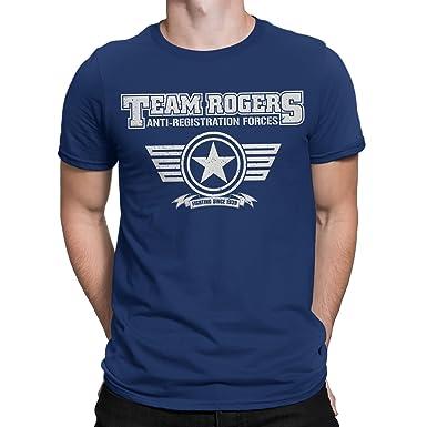 832d32a44 Captain America-Team Rogers-Civil WAR Inspired Mens T-Shirt Navy (Small