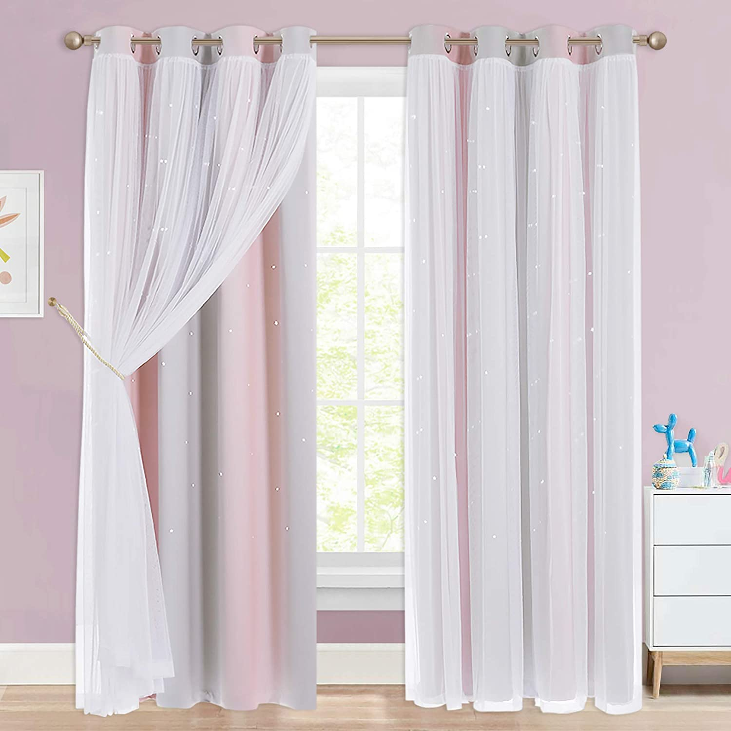 NICETOWN Kids Curtains 95 Long, Romantic Layered Double-Deck Window Dressing for Sliding/Patio Door, Baby Girl Nursery Decor (Pink & Grey, 1 Pair,52 inches W, Tie Backs Included)