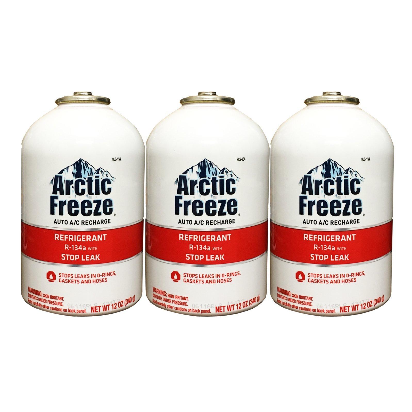 Arctic Freeze (RLS-134T) Refrigerant R-134a with Stop Leak 12 oz (3 Cans)