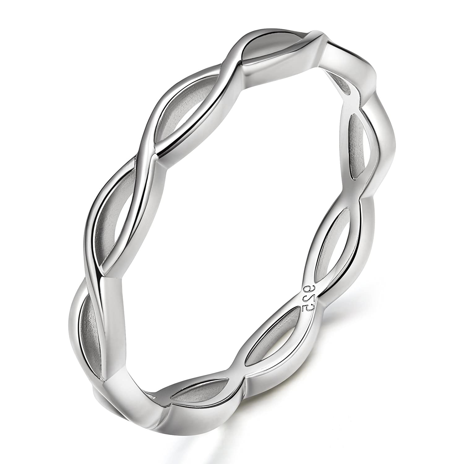 EAMTI 925 Sterling Silver Celtic Knot Ring Simple Criss Cross Infinity Wedding Band for Women Size 4-11 SOMEN