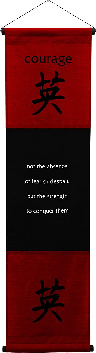 G6 Collection Inspirational Wall Decor Courage Banner Large, Inspiring Quote Wall Hanging Scroll, Affirmation Motivational Uplifting Message Decoration, Thought Saying Tapestry Courage (Red Burgundy)