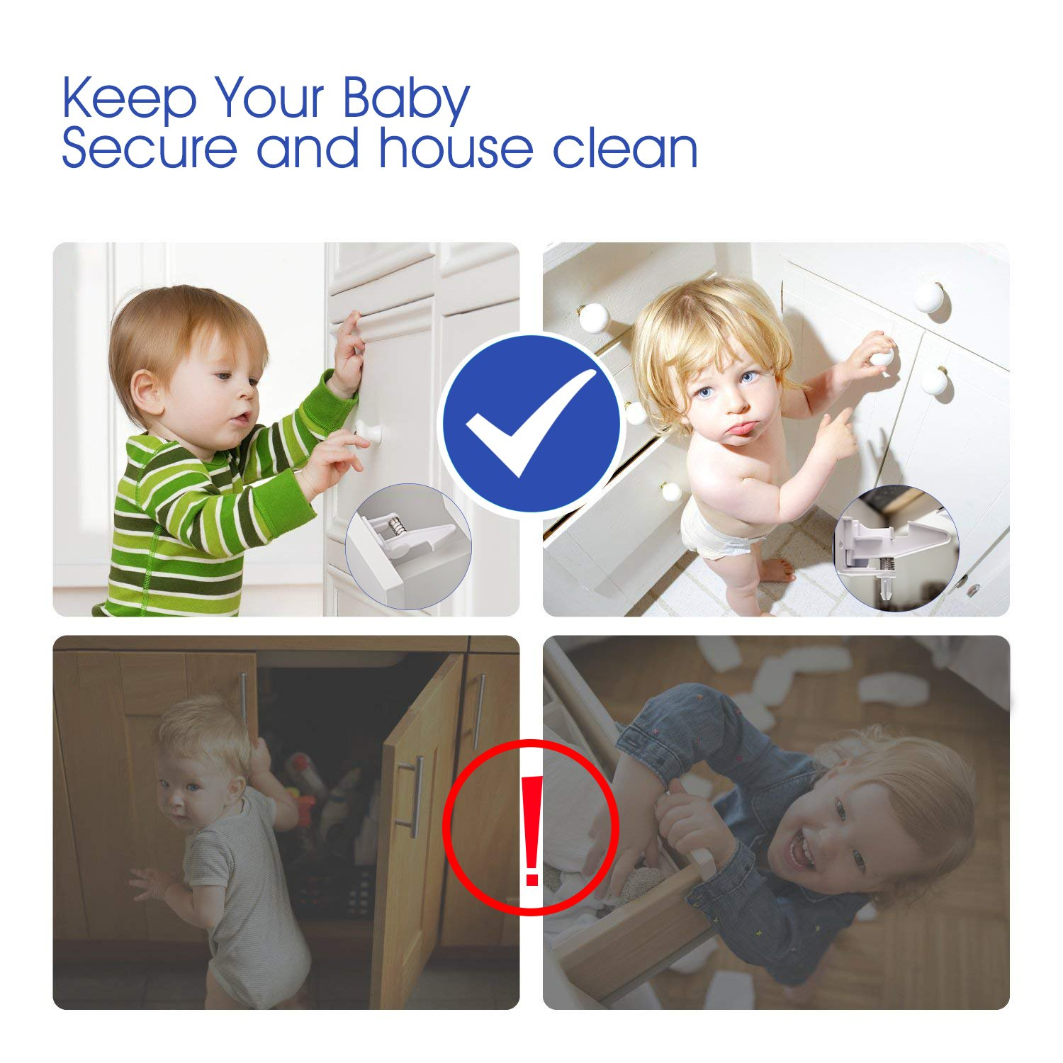[10 Pack] Cabinet Locks Child Safety, Upgraded Baby Cabinet Safety Latches, No Tools Required, Invisible Design, Works for Most Cabinets, Drawers, Closets by AOSTAR (Image #2)
