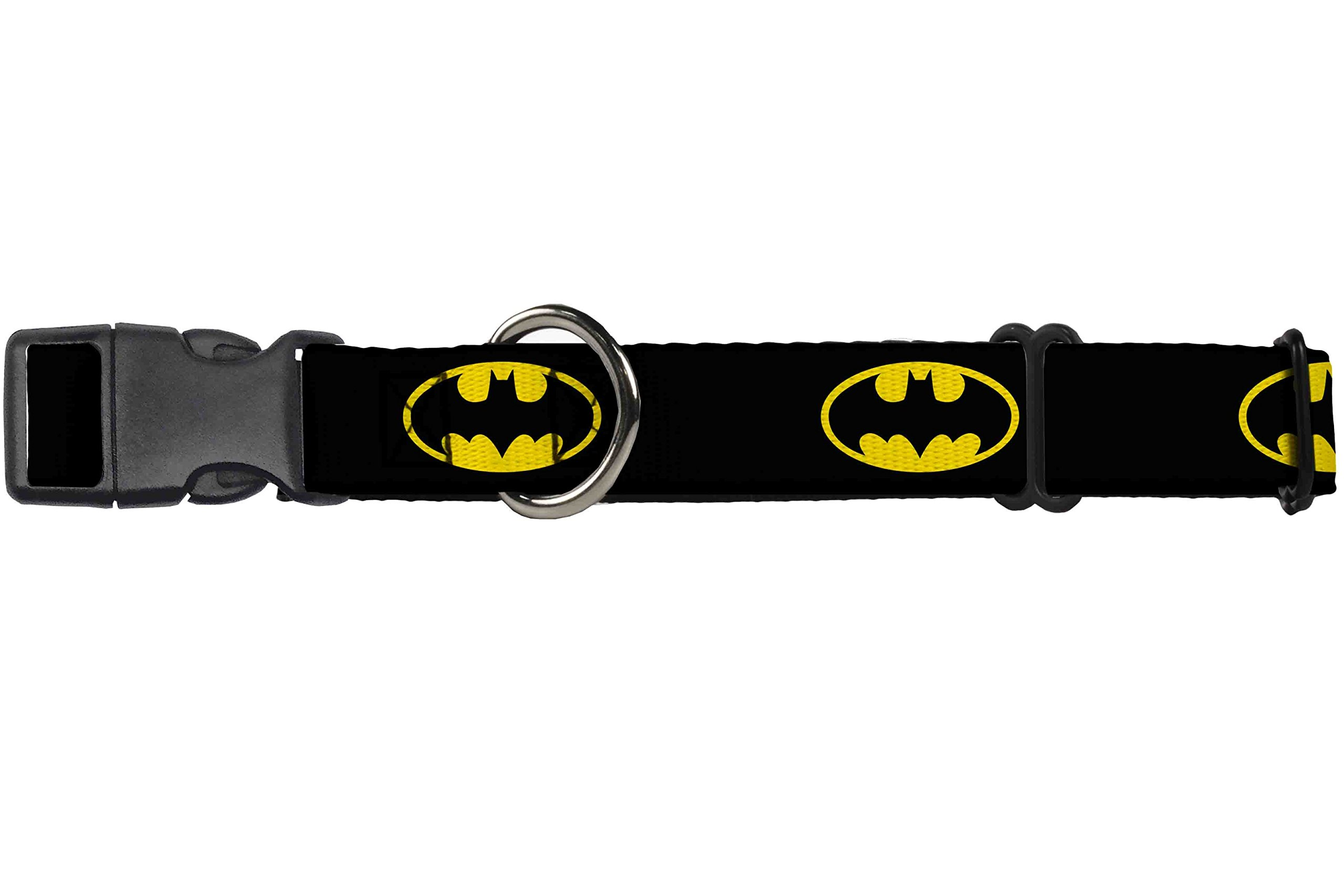 Dog Collar Martingale Batman Shield Black Yellow 9 to 15 Inches 1.0 Inch Wide