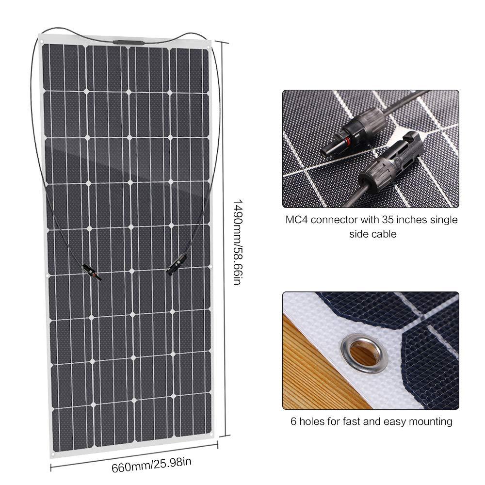 Semi-flessibile Impermeabile Caricabatterie Solare per RV Tenda Rimorchio Barca Auto ALLPOWERS 50W 18V 12V Pannello Solare Cabina con ETFE Layer, Connettori MC4