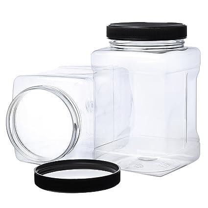Pack of 4-32 Oz Large Clear Empty Plastic Storage Jars with Lids - Square  sc 1 st  Amazon.com & Amazon.com: Pack of 4-32 Oz Large Clear Empty Plastic Storage Jars ...
