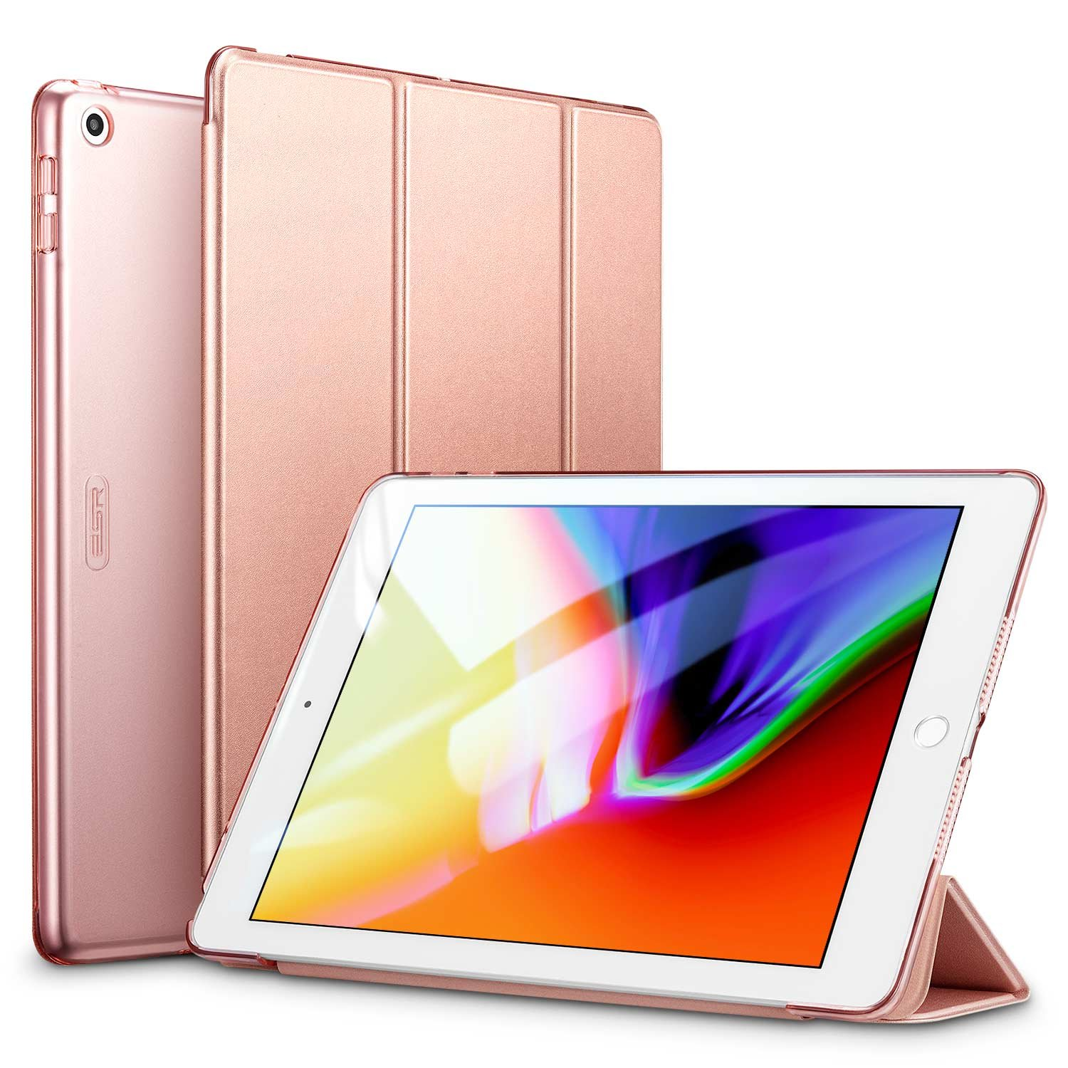 ESR iPad 9.7 2018/2017 Case, Lightweight Smart Case Trifold Stand Auto Sleep/Wake Function, Microfiber Lining, Hard Back Cover The Apple iPad 9.7 iPad 5th/6th Generation,Rose Gold B06W5FTHL7