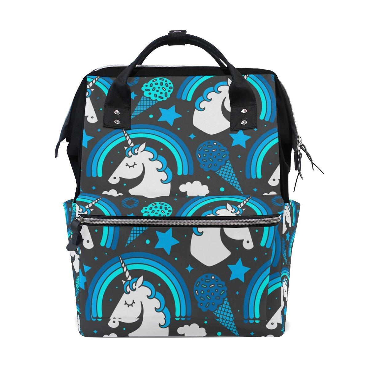 学校バックパック、防水ラップトップバッグユニコーン印刷デザインDaypack for旅行、ママと学校バッグ B07DJ9XGBQ