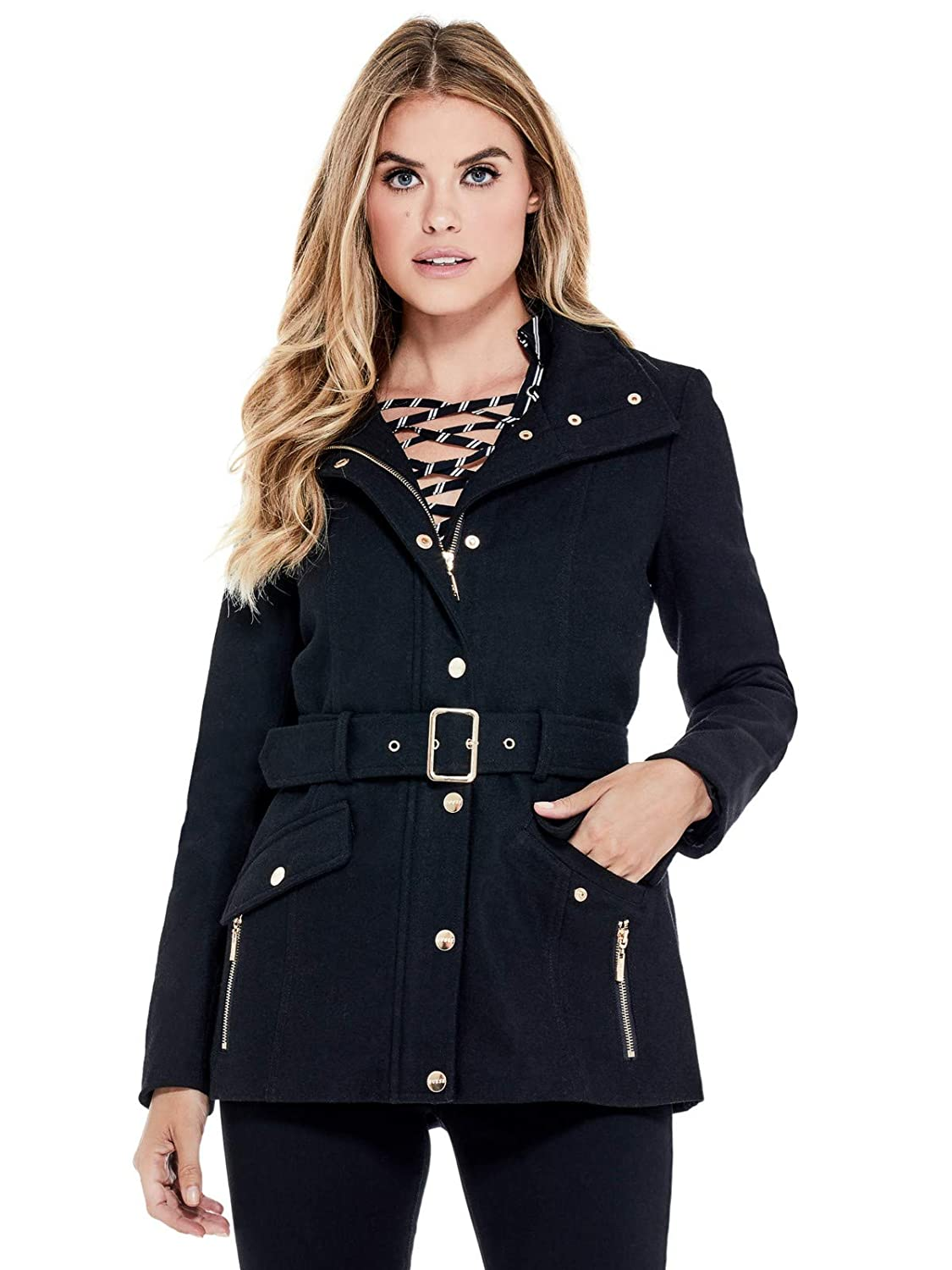 Guess Factory Women's Karlee Belted Peacoat GuessFactory