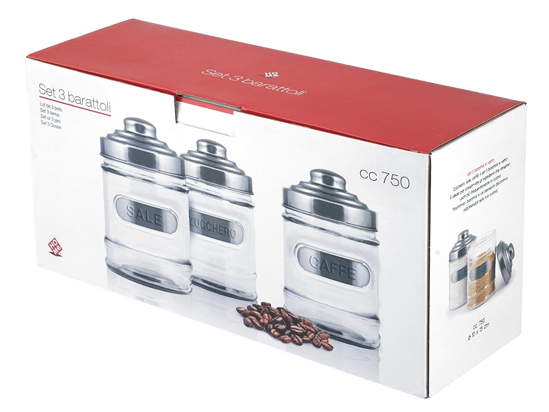 Home Grey Pack de 3/Botes para Sal az/úcar y Cacao 3/Unidad