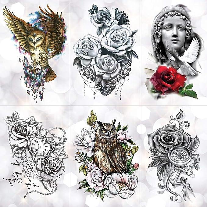 HXMAN Love Crown Rosa Azul Lily Flor Impermeable Tatuaje Temporal ...