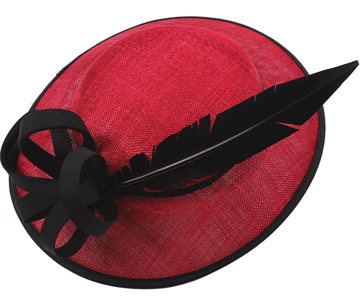 La Vogue Womens Feather Sinamay Fascinator Hat with Hair Clip Tea Party Derby