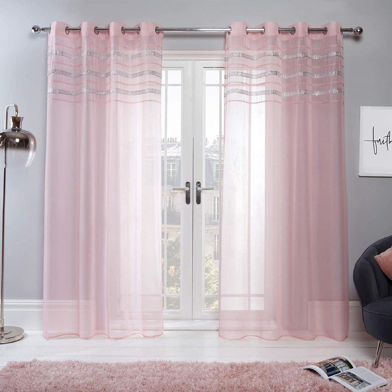 "Sienna Latina Pair of 2 x Diamante Glitzy Voile Net Curtains Eyelet Ring Top Window Panels, Blush Pink - 55"" wide x 87"" drop 55"" wide x 87"" drop Blush Pink"