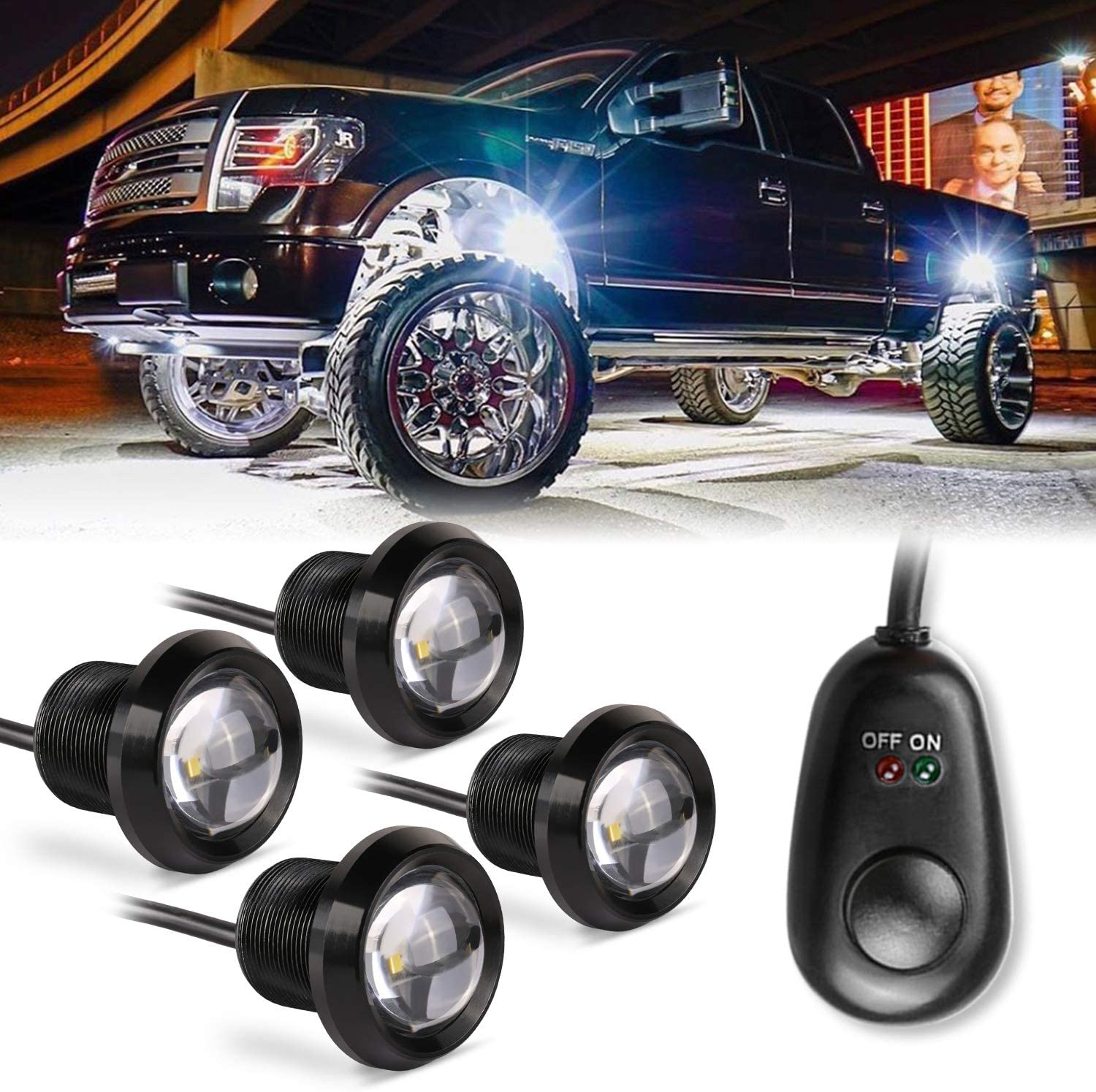 Yvoone-Auto 4Pods White Underglow Lights Kit Neon Underbody Rock Light for JEEP Off Road Truck RZR Auto Car Boat ATV SUV Waterproof High Power Neon Trail Rig Lights Pack of 4,White