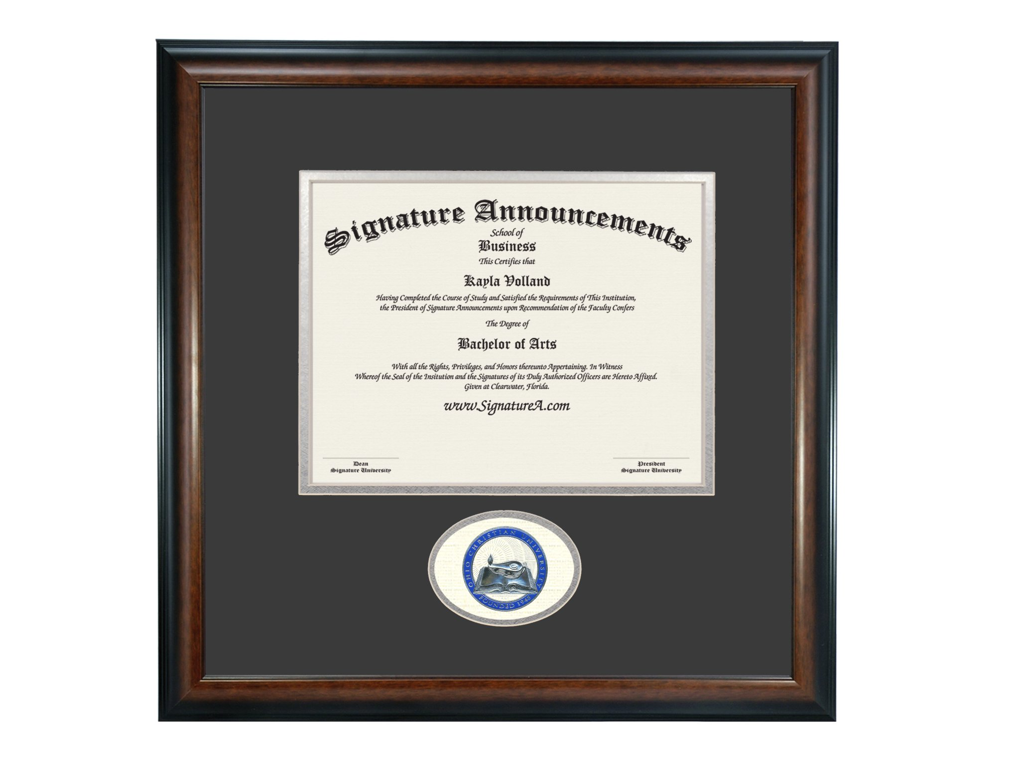 Signature Announcements Ohio-Christian-University Undergraduate, Graduate/Professional/Doctor Sculpted Foil Seal Diploma Frame, 16'' x 16'', Matte Mahogany