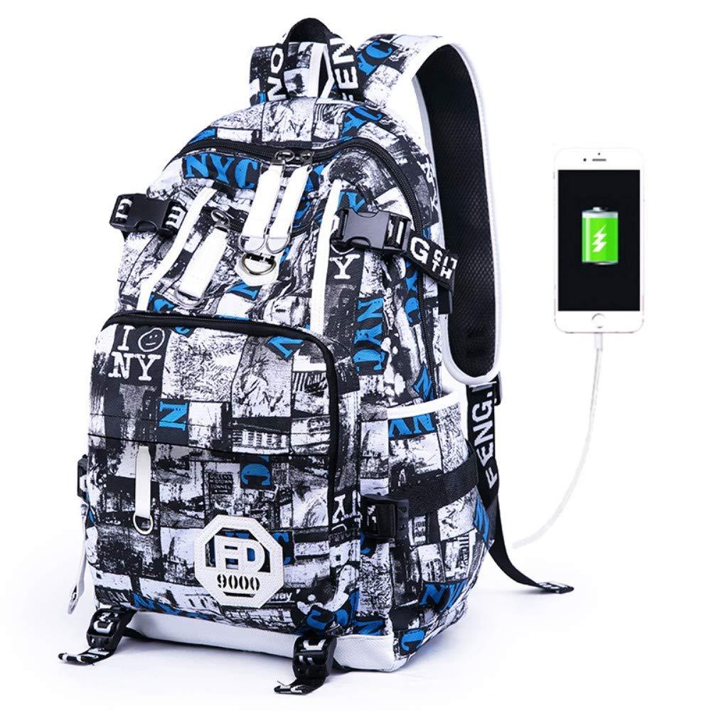 HXG Laptop Rucksack 15 Zoll Wasserdichte Reisetasche Mode Lässig Kaufmann Universität Leichte Männer und Frauen Rucksack Große Kapazität Leder mit USB Ladeanschluss Einzelstück Blau