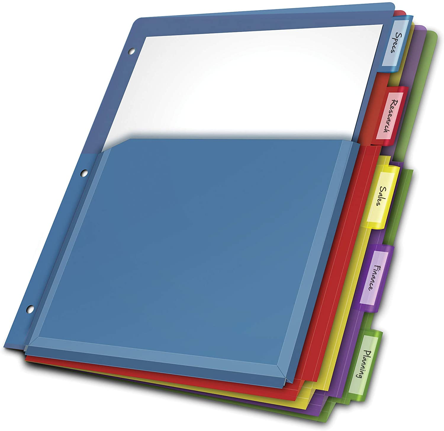 """Cardinal Expanding Plastic Binder Dividers, Flexible Front Pockets Expand 1/4"""", 5-Tab, Insertable Multicolor Tabs, Letter Size, 1 Set (84012CB)"""