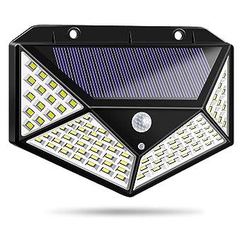 Luz Solar Exterior, Bicolor 100 LED Foco Solar Exterior con Sensor de Movimiento 1800mAh Impermeable