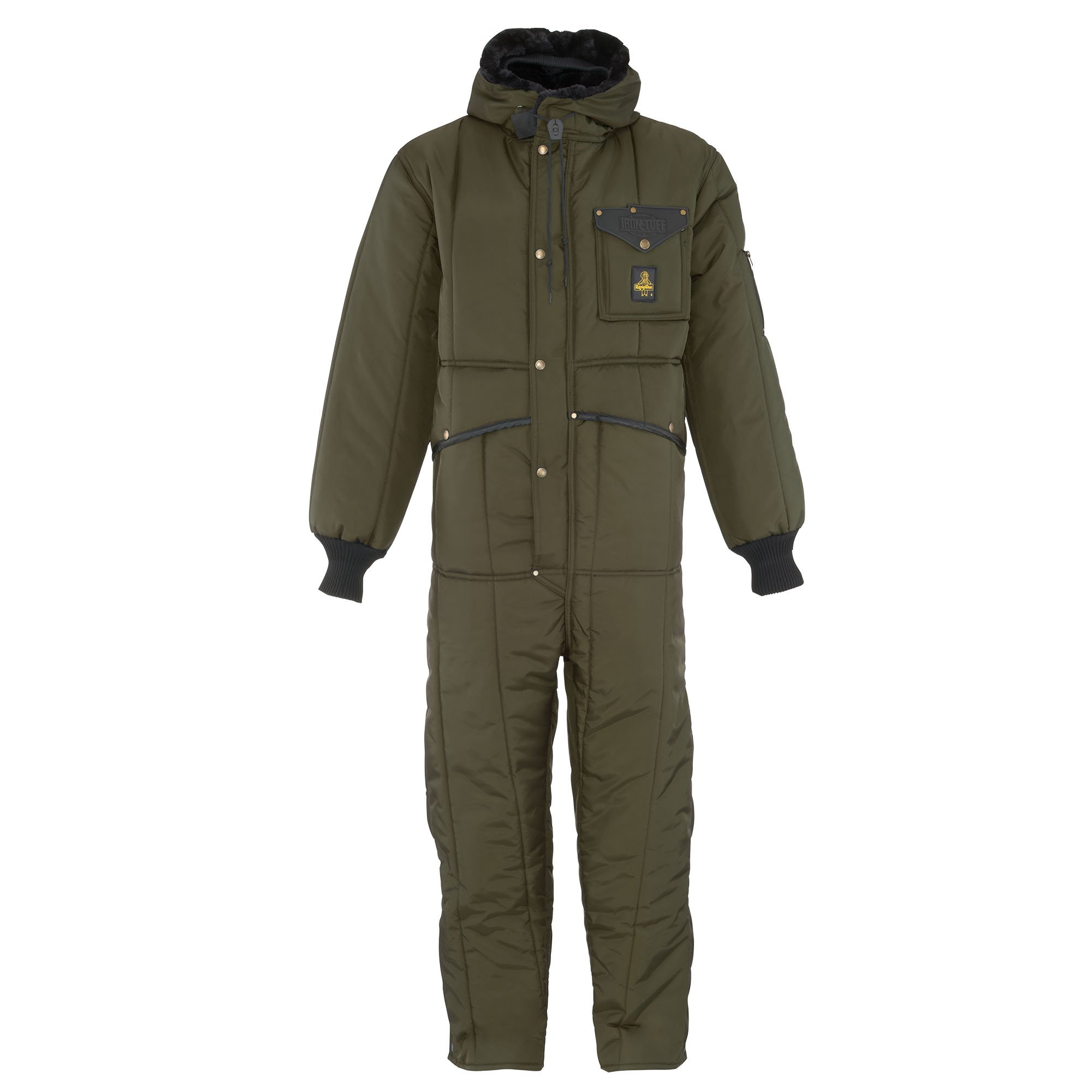 RefrigiWear Men's Iron-Tuff Insulated Coveralls with Hood -50F Extreme Cold Suit (Sage Green, Large)
