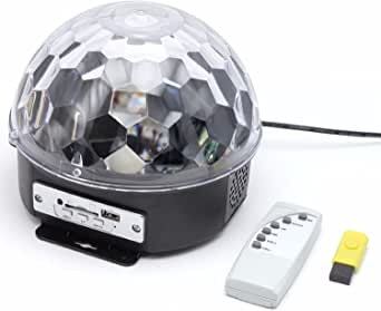 Ugetde®LED MP3 Disco DJ Stage Lighting LED RGB Crystal Magic Ball Effect Light DMX Light KTV Party Disco Ball Strobe Light Party Lights, 9 Colors Disco Stage Lights Karaoke Machine 3W Dj Light LED Portable Sound Activated Stage Lights for Festival Bar Club Party