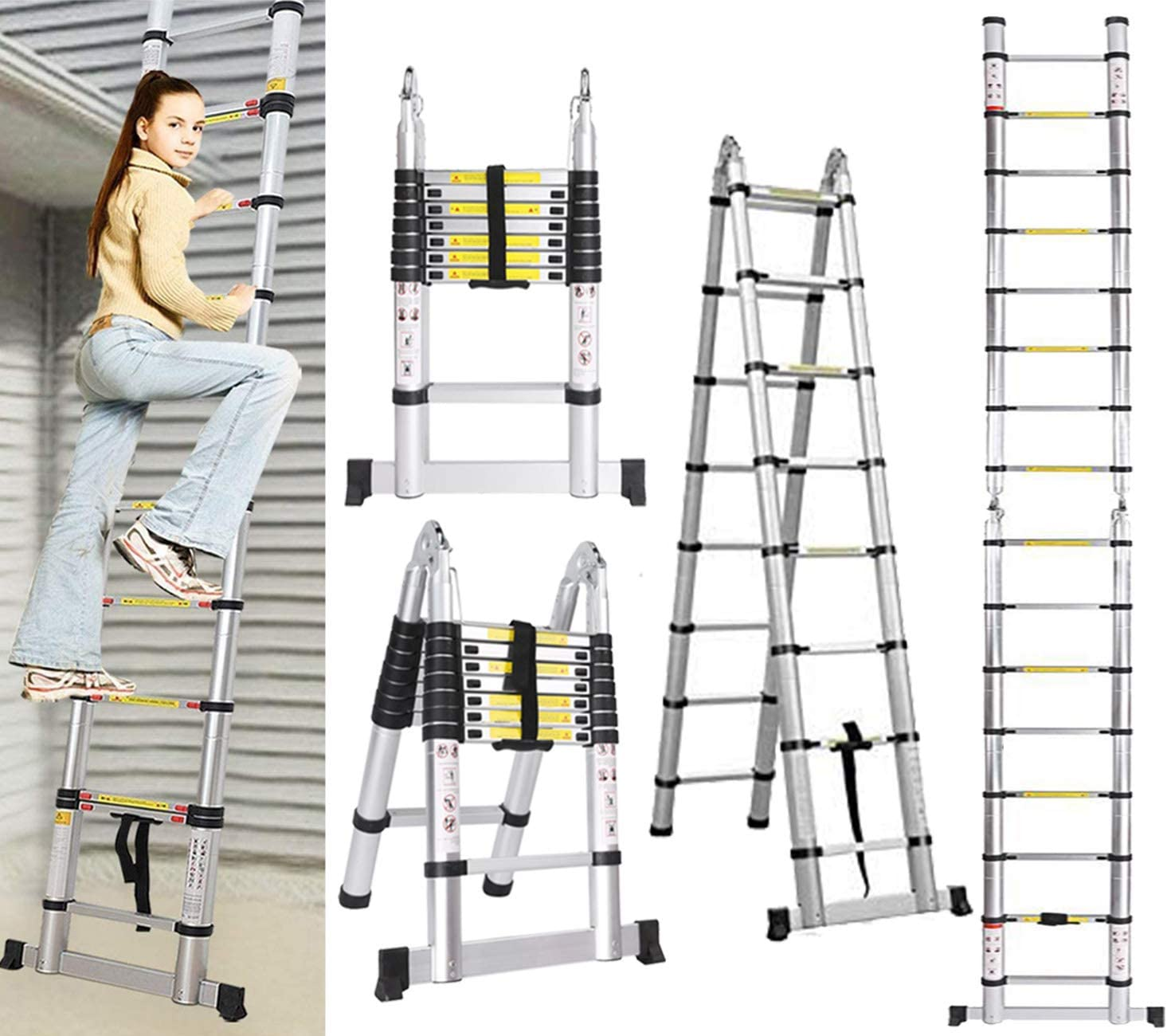 5M Escalera Plegable Aluminio, Escalera Extensión telescópica de aluminio Escaleras Telescópicas, Escalera Alta multifunción Portátil para Loft Escaleras Extensibles, 150kg