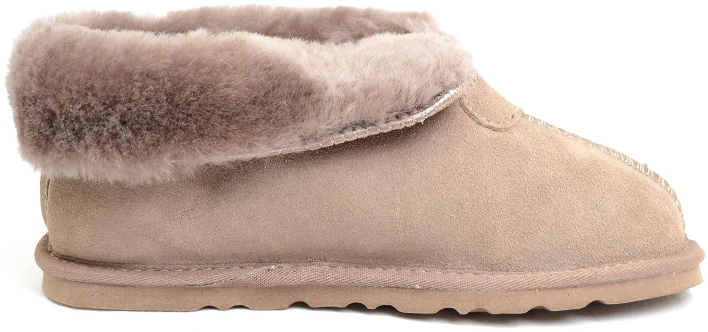 Damenschuhe/Slipper aus Schafleder Schafleder Schafleder mit Umschlag Mink 98db02