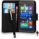 Nokia Lumia 735 Case - Premium Leather BLACK Wallet Flip Case Cover Pouch with Big Touch Stylus Pen RED Dust Stopper Screen Protector & Polishing Cloth SVL2, (WALLET BLACK)