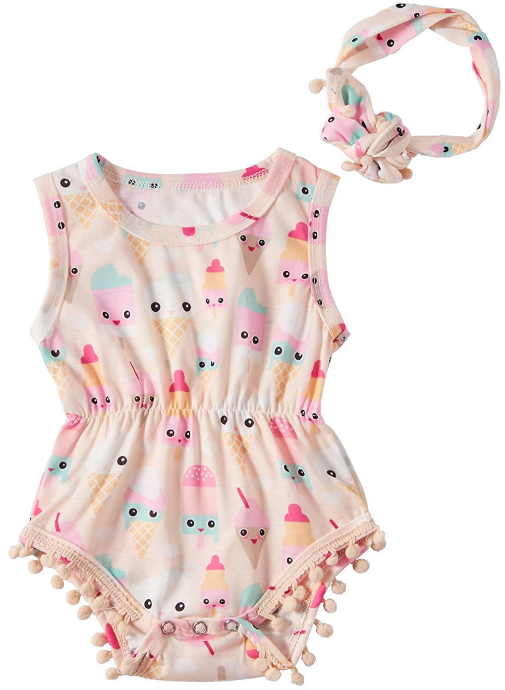 Leapparel Newborn Toddler Baby Girl Floral Sleeveless Bodysuit Romper Jumpsuit Outfit Set Casual Clothes Headband xzq18051401