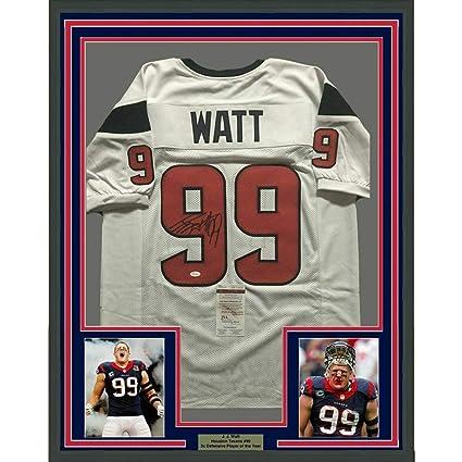 b2476d57473 J.J. Watt Autographed Jersey - FRAMED JJ 33x42 White COA - JSA Certified -  Autographed NFL
