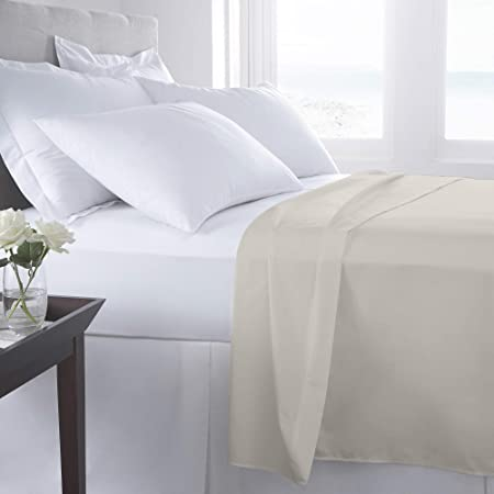 Sábanas planas de percal 100% algodón egipcio, 180 hilos, algodón egípcio Poliéster. algodón, Marrón, 195x260 cm: Amazon.es: Hogar